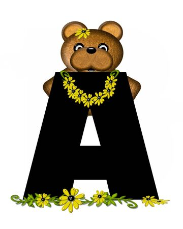 gathers: The letter A, in the alphabet set Teddy Making Daisy Chain, is black.  Teddy bear gathers daisies to make yellow daisy chains.