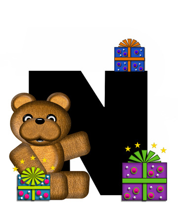 gift wrapped: The letter N, in the alphabet set Teddy Gifts Galore, is black.  Teddy bear, gift wrapped packages and stars decorate letter.
