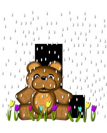 april showers: The letter L, in the alphabet set Teddy April Showers, is black.  Brown teddy bear and flowers decorate letter.  Tulips bloom as April showers fall.