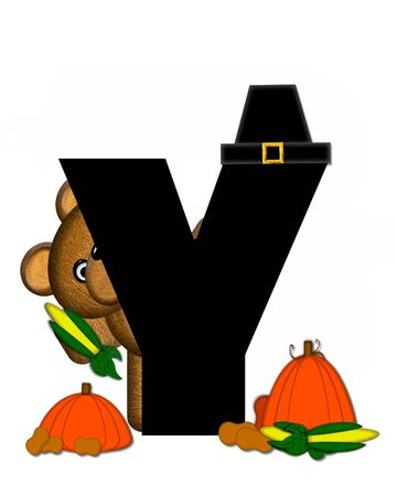 The letter Y, in the alphabet set Teddy Thanksgiving, is black.  It is decorated with a cute brown teddy bear wearing a Pilgrims hat.  Pumpkin and harvest vegetables sit besides letter.