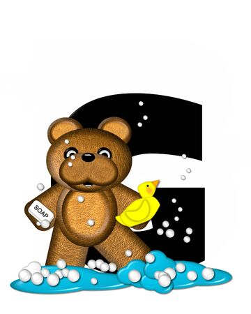 bath time: The letter G, in the alphabet set Teddy Bath Time, is black and sits on a pool of spilled bath water.  Brown teddy bear, bubbles and yellow duck decorate letter.