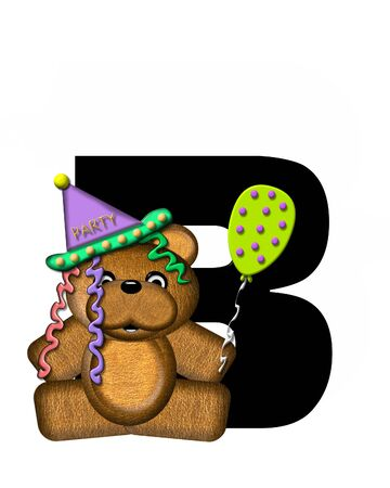 The letter B, in the alphabet set Teddy Birthday, is black.  Teddy bear, party hat, and balloons decorate letter.