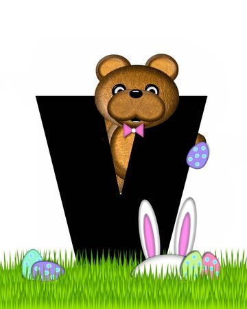 wears: The letter V, in the alphabet set Teddy Easter, is black. Teddy wears an Easter Rabbit costume and hunts Easter Eggs hidden in the grass. Stock Photo