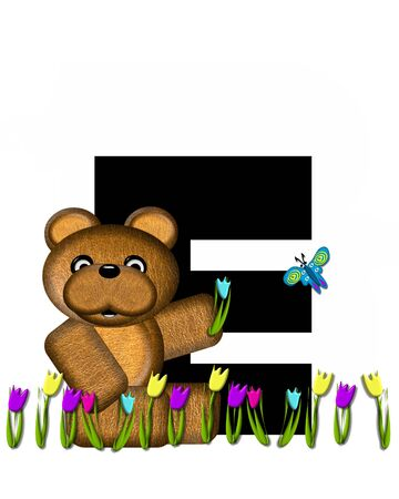 picking: The letter E, in the alphabet set Teddy Picking Flowers, is black.  Teddy bear picks tulips and butterfly flutters overhead.