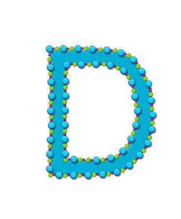 bead: Letter D from Bead Alphabet is bright turquoise in color.  Letter is outlined completly in pink, turquoise and green beads and balls.