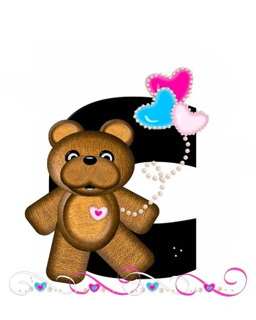 cutie: The letter C, in the alphabet set Teddy Valentines Cutie, is black.  Brown teddy bear holds heart shaped balloons in pink and blue.  String of pearls serve as string.