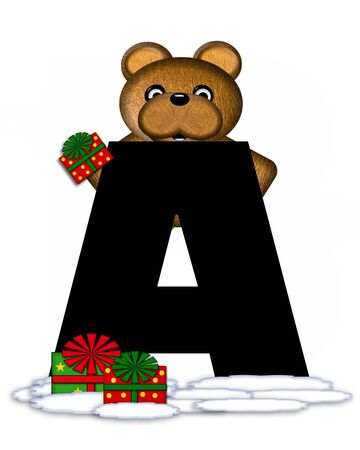 teddy bear christmas: The letter A, in the alphabet set Teddy Christmas, is black and sits on pile of snow.  Teddy Bear and presents decorate each letter.