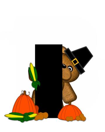 """La letra I, en el conjunto de alfabeto de """"peluche de Acción de Gracias"""", es negro. Está decorado con un oso de peluche marrón lindo con un sombrero de peregrino. Calabaza y cosecha las verduras se sientan aparte de la carta."""