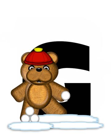 wintertime: The letter G, in the alphabet set Teddy Wintertime, is black. Teddy stands on snow making and throwing snowballs.  He is wearing a red cap.