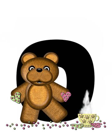 The letter O, in the alphabet set Teddy Tea Time, is black.  Teddy bear enjoys a cup of hot tea with heart shaped and frosted cookies.  Candy sprinkles cover floor. Stock Photo