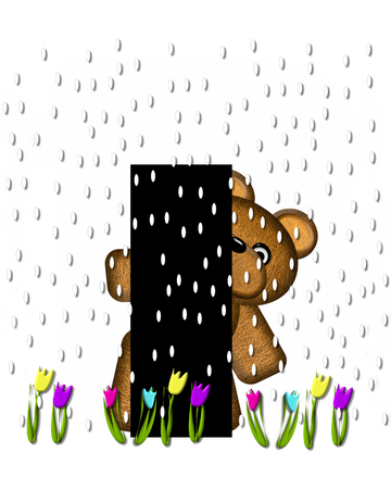 april showers: The letter I, in the alphabet set Teddy April Showers, is black.  Brown teddy bear and flowers decorate letter.  Tulips bloom as April showers fall. Stock Photo