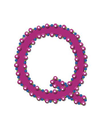 ball and chain: Letter Q from Bead Alphabet is deep rose in color.  Letter is outlined completly in pink, blue and green beads and balls. Stock Photo