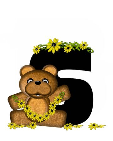 bear s: The letter S, in the alphabet set Teddy Making Daisy Chain, is black.  Teddy bear gathers daisies to make yellow daisy chains.