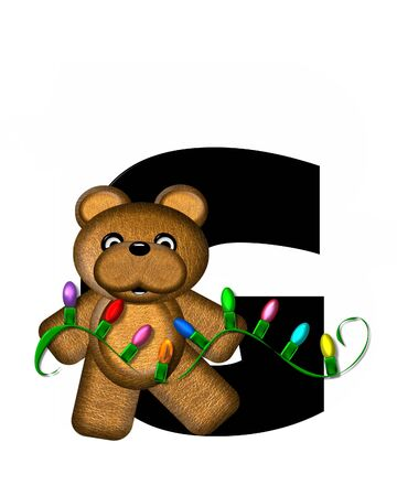 g string: The letter G, in the alphabet set Teddy Christmas Lights, is black. Teddy Bear holds a string of Christmas lights and decorates letter.