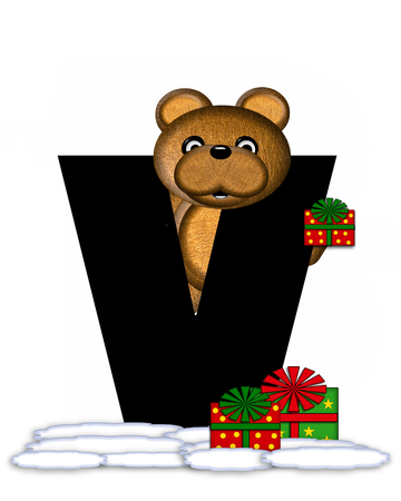 teddy bear christmas: The letter V, in the alphabet set Teddy Christmas, is black and sits on pile of snow.  Teddy Bear and presents decorate each letter.