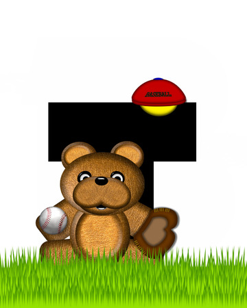 The letter T, in the alphabet set Teddy Baseball, is black and sits on baseball field of green grass.  Brown teddy bear, baseball, cap and glove decorate letter.