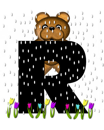 The letter R, in the alphabet set Teddy April Showers, is black.  Brown teddy bear and flowers decorate letter.  Tulips bloom as April showers fall.