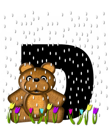 showers: The letter D, in the alphabet set Teddy April Showers, is black.  Brown teddy bear and flowers decorate letter.  Tulips bloom as April showers fall.