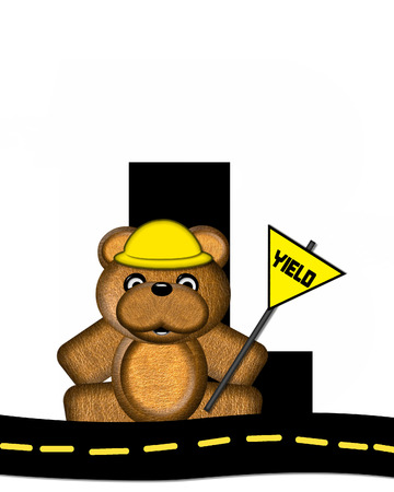 highway signs: The letter L, in the alphabet set Teddy Highway Work, is black and sits on black highway. Teddy bear, hard hat, and highway signs decorate letter. Stock Photo