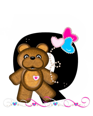 cutie: The letter Q, in the alphabet set Teddy Valentines Cutie, is black.  Brown teddy bear holds heart shaped balloons in pink and blue.  String of pearls serve as string. Stock Photo
