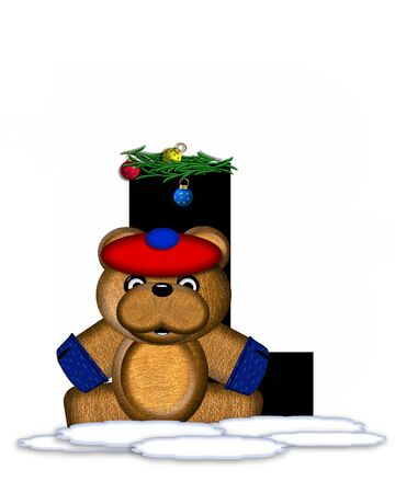boughs: The letter L, in the alphabet set Teddy Christmas Boughs, is black and sits on pile of snow.  Teddy Bear wearing cap and mittens, decorates letter with Christmas boughs and ornaments.