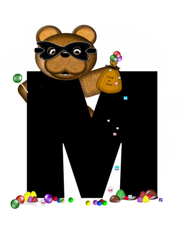 The letter M, in the alphabet set Teddy Halloween Treats, is black and is decorated with cute brown teddy bear.  Bear is masked and holding a bag of Halloween candy.  Candy has spilled from his bag and covers the ground by his feet.