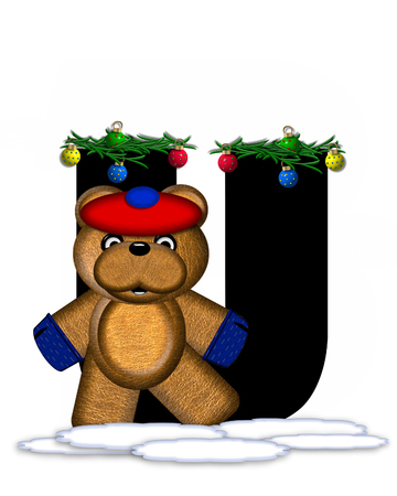 boughs: The letter U, in the alphabet set Teddy Christmas Boughs, is black and sits on pile of snow.  Teddy Bear wearing cap and mittens, decorates letter with Christmas boughs and ornaments.