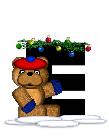 teddy bear christmas: The letter E, in the alphabet set Teddy Christmas Boughs, is black and sits on pile of snow.  Teddy Bear wearing cap and mittens, decorates letter with Christmas boughs and ornaments. Stock Photo
