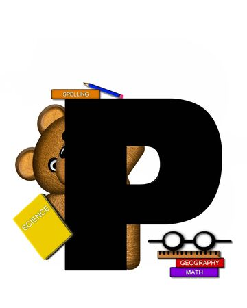 studious: The letter P, in the alphabet set Teddy Learning, is black. Teddy bear decorates letter and he is wearing glasses.  Books and pencils surround him.