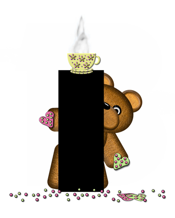 frosted: The letter I, in the alphabet set Teddy Tea Time, is black.  Teddy bear enjoys a cup of hot tea with heart shaped and frosted cookies.  Candy sprinkles cover floor.