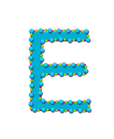Letter E from Bead Alphabet is bright turquoise in color.  Letter is outlined completly in pink, turquoise and green beads and balls.