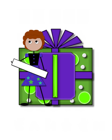 The letter I, in the alphabet set All Occasion, labels the front of a gift box complete with bow.  A stick figure stands besides gift box holding a blank sign to be labeled with your special occasion.