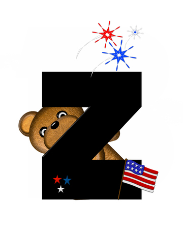 independance day: The letter Z, in the alphabet set Teddy 4th of July, is black.  Brown teddy bear holds American flag.  Fireworks in red, white and blue explode around him.