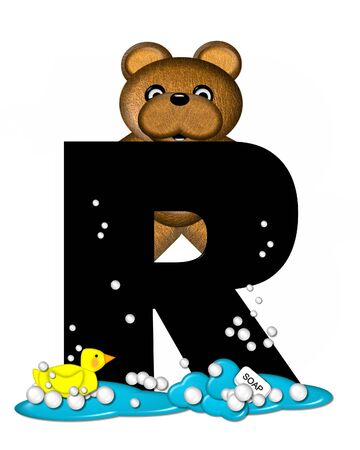 bath time: The letter R, in the alphabet set Teddy Bath Time, is black and sits on a pool of spilled bath water.  Brown teddy bear, bubbles and yellow duck decorate letter.