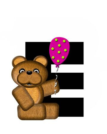 The letter E, in the alphabet set Teddy Birthday, is black.  Teddy bear, party hat, and balloons decorate letter.