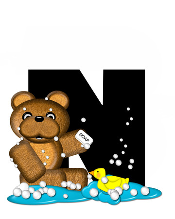 bathtime: The letter N, in the alphabet set Teddy Bath Time, is black and sits on a pool of spilled bath water.  Brown teddy bear, bubbles and yellow duck decorate letter.