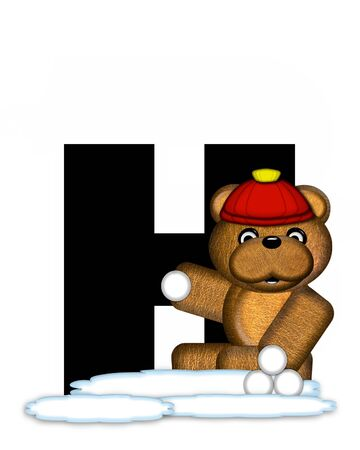 wintertime: The letter H, in the alphabet set Teddy Wintertime, is black. Teddy stands on snow making and throwing snowballs.  He is wearing a red cap. Stock Photo