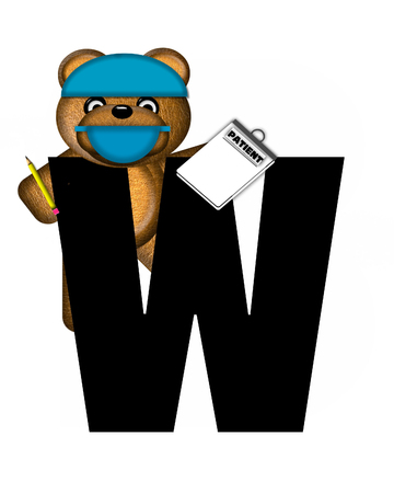 checkup: The letter W, in the alphabet set Teddy Dental Checkup, is black.  Teddy bear wearing a dental mask and hat represents dentist holding various dental tools. Stock Photo