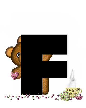 frosted: The letter F, in the alphabet set Teddy Tea Time, is black.  Teddy bear enjoys a cup of hot tea with heart shaped and frosted cookies.  Candy sprinkles cover floor.