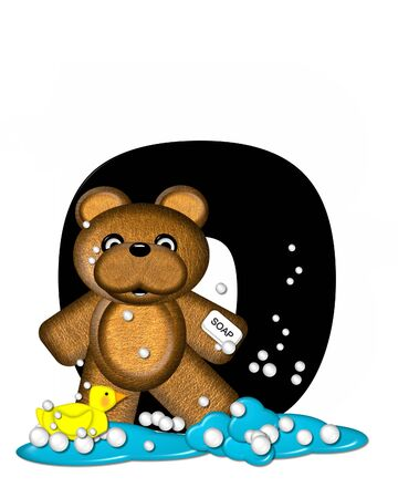 The letter O, in the alphabet set Teddy Bath Time, is black and sits on a pool of spilled bath water.  Brown teddy bear, bubbles and yellow duck decorate letter. Stock Photo