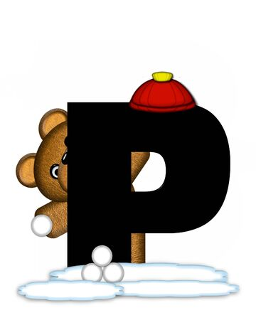 snow cap: The letter P, in the alphabet set Teddy Wintertime, is black. Teddy stands on snow making and throwing snowballs.  He is wearing a red cap.