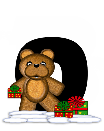 teddy bear christmas: The letter O, in the alphabet set Teddy Christmas, is black and sits on pile of snow.  Teddy Bear and presents decorate each letter.