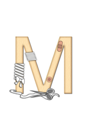 gauze: Alphabet letter M, in the set Boo Boo, is tan to represent the color of skin.  Each letter is bandaged and has bandage applied.