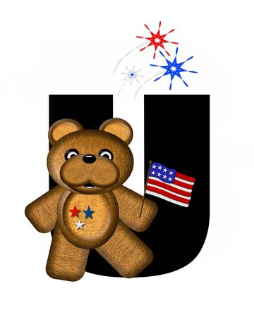 independance day: The letter U, in the alphabet set Teddy 4th of July, is black.  Brown teddy bear holds American flag.  Fireworks in red, white and blue explode around him.
