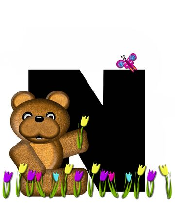 picking: The letter N, in the alphabet set Teddy Picking Flowers, is black.  Teddy bear picks tulips and butterfly flutters overhead.