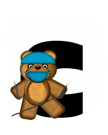The letter C, in the alphabet set Teddy Dental Checkup, is black.  Teddy bear wearing a dental mask and hat represents dentist holding various dental tools.