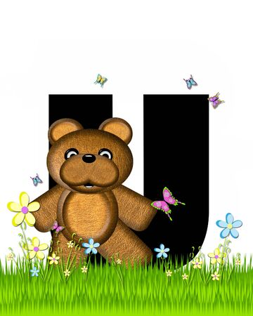 grassy field: The letter U, in the alphabet set Teddy Butterfly Field, is black.  Teddy bear chases colorful butterflies across a grassy field with wildflowers. Stock Photo