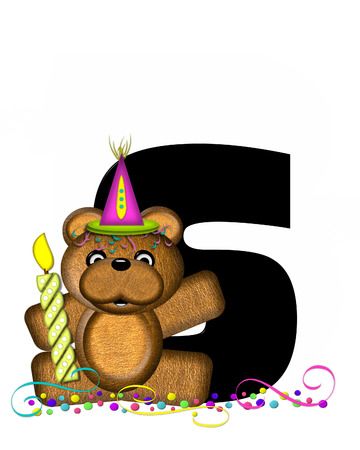 bear s: The letter S, in the alphabet set Teddy Party Time, is black.  Teddy bear, party hat, candle and confetti decorate letter.
