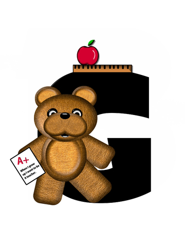 The letter G, in the alphabet set Teddy School Daze, is black with ruler and apple sitting on letter.  Borwn Teddy Bear decorates letter and is holding graded, homework paper. Stock Photo