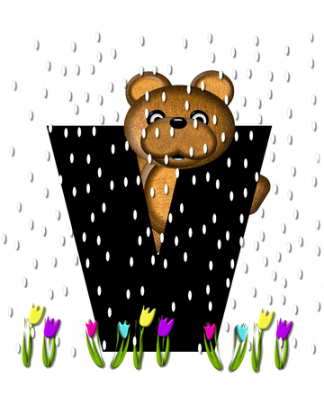 april showers: The letter V, in the alphabet set Teddy April Showers, is black.  Brown teddy bear and flowers decorate letter.  Tulips bloom as April showers fall.